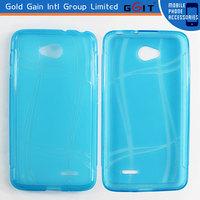 Blue TPU Soft Cover Black Gel Crystal Skin Case Accessories For LG Optimus L70