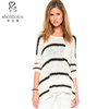 Sweater manufacturer long sleeve with black and white conbination strap loose fit