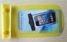 New design clear pvc universal eco-friendly waterproof bag for mobile phone with two buttons (yellow)