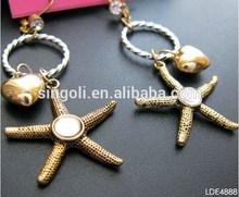 Fashion sea star &heart dangle earring wholesale good platting arring
