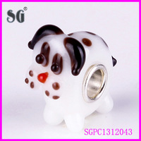 Pet element jewelry dog shaped murano glass beads with 925 sterling silver pipe