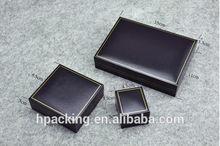 Gold Edged, Black Leather Jewelry Gift Box, Black Velvet Inside