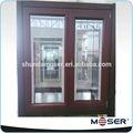 super alto rendimiento de ahorro de energía insertar persianas de ventanas de doble acristalamiento de inclinación y giro de madera de la ventana de aluminio