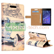 New Arrived Film Festival Pattern for Sony Xperia M2 S50h Foldable Stand Leather Case Cover