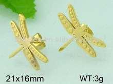 Kalen chapado en oro pendiente de la libélula en forma de fotos de oro pendientes