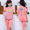 Tan15010 The new releasing summer 2014 children's clothing wholesale alphabet letters Printing children sport set