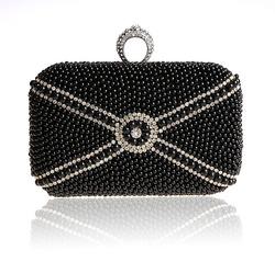 2014 new black beaded lady hand bag diamond ring buckle designer bag