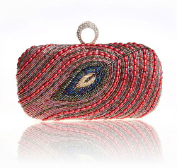 2014 new red hand beads lady cosmetic bag women pu makeup bag