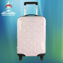 hot sale pink color white dot hard shell spinner luggage