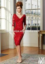 oumeiya oem270 vermelho com decote nas costas do joelho comprimento da mãe da noiva vestidos de renda com três mangas quater