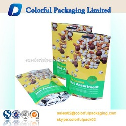 Hot sale!!!Factory supply wholesale colorful dried fruit and nut packaging stand up bag with zipper