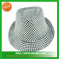 Custom mini plaid check fedora hat for kids