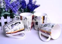 12oz Bone china mug wholesale starbucks mugs with animals handle paper cups