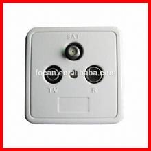 Three Holes TV/SAT TV 5-2400MHZ TV satellite Wall Socket