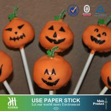 Halloween pumpkin cake ball stick paper sticks