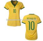 2014 Hot sale original grade #10 NEYMAY JR home yellow brazil women jersey