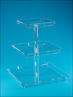 Transparent Multi Tiers Cake Holder,Plastic Cake Stand,Clear 3 Tiers Display Tray for Wedding Cake