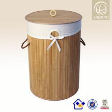 35*50 folding bamboo basket weave laundry handicraft round with lid