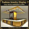 Fashion MDF wood jewellery display showcase design with LED light