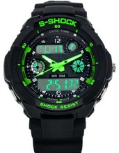 Dual time plastic silicone analog digital watch