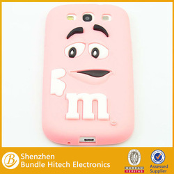 Best selling fashion cute silicon case for Samsung s3 i9300 , high quality cell phone cover with M&M chocolate bean pattern