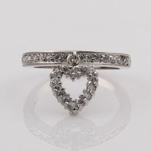 2014 women imitation jewelry imported unique design heart dangling eternity rings