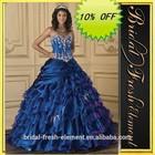 Hot Sale Long Good Quality Organza Lace Appliqued Sweetheart Ruffled Skirt Sexy Dark Blue Wedding Dresses