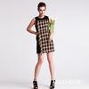 New model dress 2014 fur plaid design dubai fashion dress