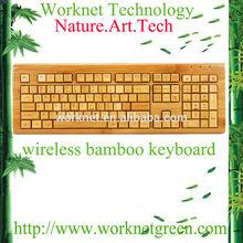 newest design 108 keys wireless russian style bamboo wooden keyboard