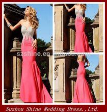 ypd11193 toptan çin tedarikçisi kırmızı denizkızı kolsuz saten Backless gelinlik son parti giyim kızlar için elbiseler