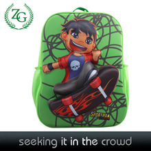 high quality fashion 3D skateboard boy shape children school bags