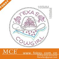 fashionable style rhinestone transfer iron on motif letters texas cow girl