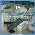 Interior de la placa doble/larguero de escaleras de vidrio de acero inoxidable barandilla de la escalera