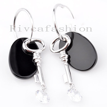 personalized plain black cz agate 925 silver studs earrings, sterling silver earrings,Austrian black diamond jewelry