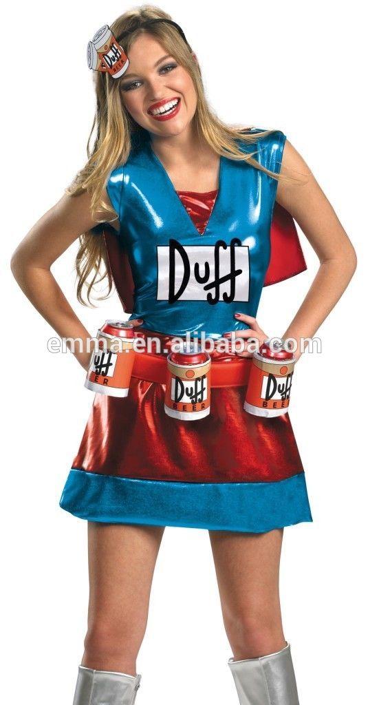 Plus size Sexy Simpsons fêmeas Duffman DUFFWOMAN traje mulher cerveja Duff traje CW-2047