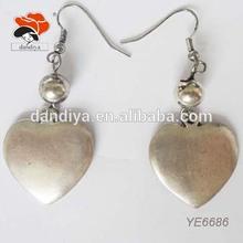 romantic dangling alloy women love heart hoop earrings gift