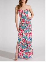 2014 más nuevas mujeres sin tirantes del arco del busto del verano Tropical de la impresión Maxi vestido