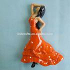Customer logo polyresin/polystone/resin spain dancer girl souvenir gifts tourist fridge magnet