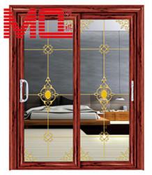 wooden color aluminium interior door with decorative grill MQ-121
