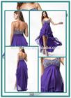 HT436 Elegant strapless sweetheart beaded neckline gorgeous bridesmaid dresses in purple short front long back