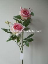 wholesale cheap artificial 3 heads velvet rose