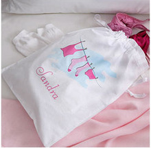 Recycled Cute Cotton Drawstring Bag for Underwear/Pants