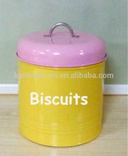 Cylinder Cream Biscuit tin metal bins