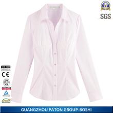 Vente chaude à manches longues lady shirt 100% coton blouse