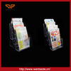 Fujian factory customized A5 Clear acrylic magazine holder /wall mounted brochure display rack
