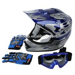 DOT Youth Blue Flame Dirt Bike ATV BMX Motocross Helmet w/ Goggles+gloves S M L
