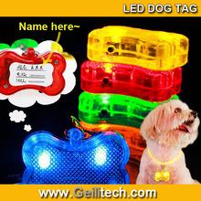 Wholesale Pet Dog/Cat Safety Flashing Dogs Bone Blinking Glow Light LED Collar Pendant Tag Fashion Dog tag pendant