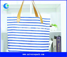 Striped canvas tote bag leather handle
