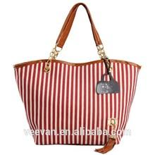 Strip tote canvas bags,custom printed canvas tote bags,ladies canvas tote bag