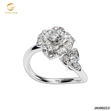 JHJ00213 Rhodium Plated Unique 925 Sterling Silver Rings Jewelry With AAA Cubic Zirconia